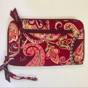 Vera Bradley Zip Around Wallet Red Paisley Print